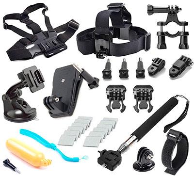 Detalle de los accesorios para la GoPro Hero 4
