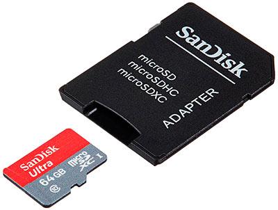 Tarjeta micro Sd Sandisk Ultra con su adaptador