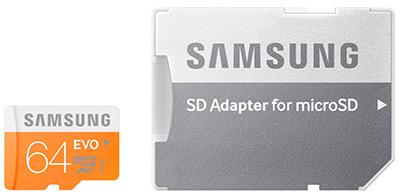 MicroSD Samsung 64GB con adaptador