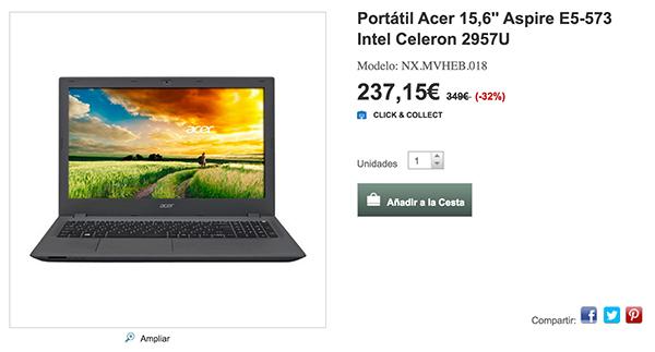 Precio en hipercor del portátil Acer Aspire