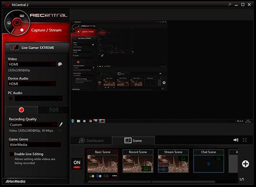 Software RECentral de la Live Gamer Extreme