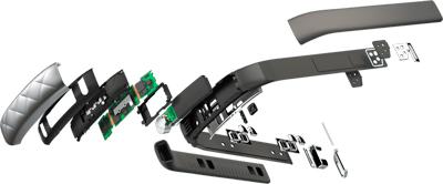Componentes de la pulsera de actividad y sueño Jawbone UP3