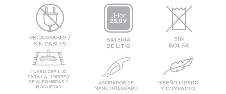 Características de la escoba eléctrica Polti Forzaspira SR25.9 Plus