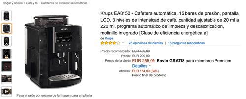 Precio en oferta de la cafetera Krups EA8150