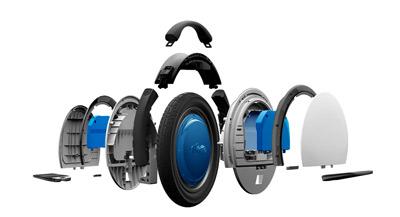 Partes que componen el monociclo eléctrico Ninebot One S2