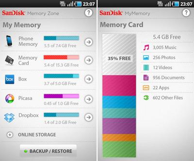 Aplicación SanDisk Memory Zone compatible con la Memoria SanDisk Ultra de 200GB
