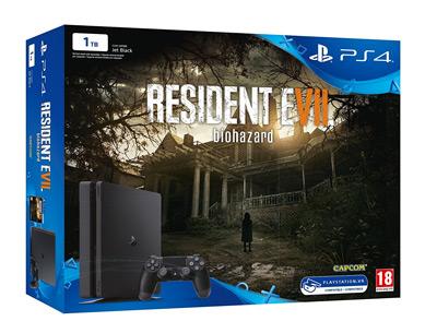 Vista general de la PS4 Slim de 1TB con Resident Evil VII