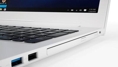 Detalle de conexiones y unidad DVD del portátil Lenovo Ideapad 510 con Office 365