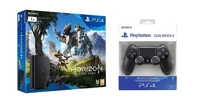 Vista general del pack PS4 Slim 1TB, DualShock 4 y Horizon Zero Dawn