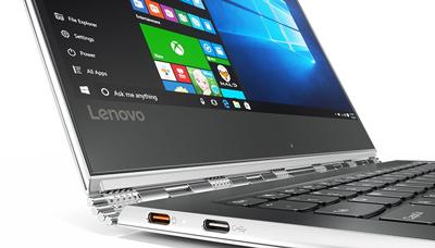 Detalle de la bisagra de 369 grados del portátil Lenovo Yoga 910
