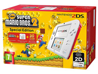 Nintendo 2DS con juego New Super Mario Bros 2 en color Rojo